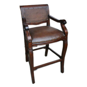 Imperial Barstool, Plain with Tacks, Antique Brown