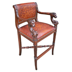 Lion Barstool, Colonial, Antique Brown