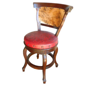 Spanish Heritage Barstool, with back, with swivel, Colonial, Hair-on-Hide, Red