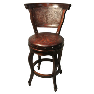 Spanish Heritage Round Barstool, with Back, with Swivel, Colonial, Antique Brown