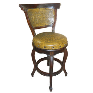 Spanish Heritage Round Barstool, with back, with Swivel, Colonial, Mustard