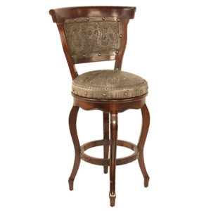 Spanish Heritage Round Barstool, with back, with swivel, Colonial, Ash