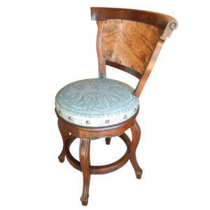Spanish Heritage Round Barstool, with back, with swivel, Colonial, Hair on Hide, Turquoise