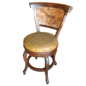 Spanish Heritage Round Barstool, with back, with swivel, Colonial, Hair on Hide, Yellow