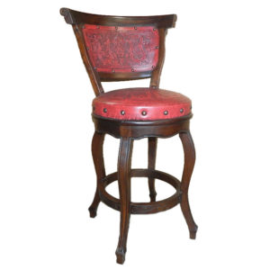 Spanish Heritage Round Barstool, with back, with swivel, Colonial, Red