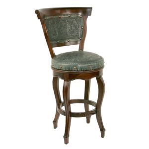 Spanish Heritage Round Barstool, with back, with swivel, Colonial, Turquoise