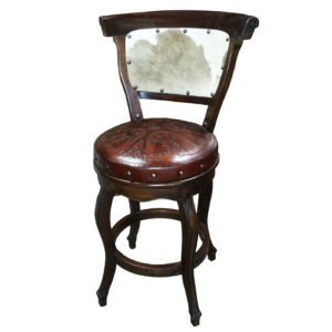 Spanish Heritage Round Barstool, with back, with swivel, Hair on Hide back, Colonial, Antique Brown