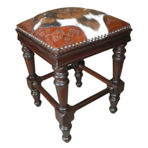 Susana Barstool, Colonial Corners, Hair on Hide, Antique Brown