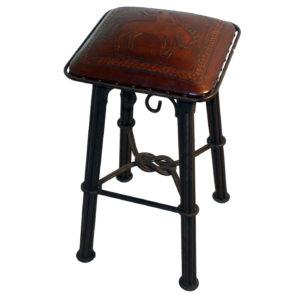 Western Iron Barstool, Bronco, Antique Brown