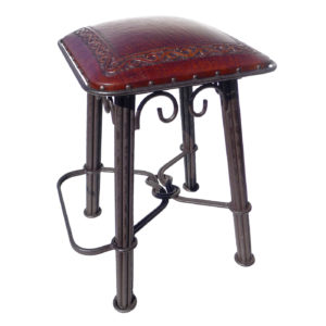 Western Iron Barstool, Classic, Antique Brown
