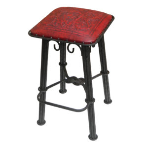 Western Iron Barstool, Colonial, Red