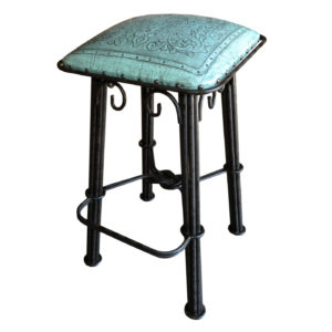 Western Iron Barstool, Colonial, Turquoise