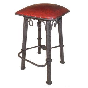 Western Iron Barstool, Diamond, Red
