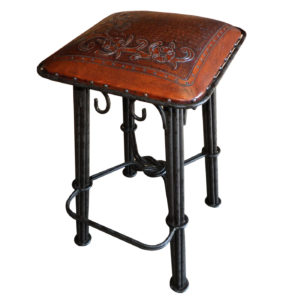 Western Iron Barstool, Flowers, Antique Brown