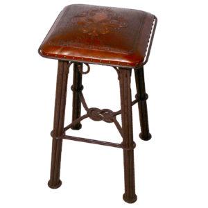 Western Iron Barstool, Fluer de lys, Antique Brown