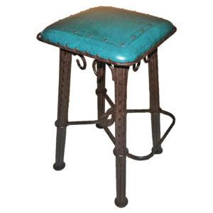 Western Iron Barstool, Plain with Tacks, Turquoise