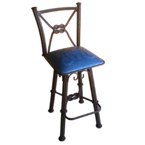 Western Iron Barstool, with Back, with Swivel, Colonial, Blue