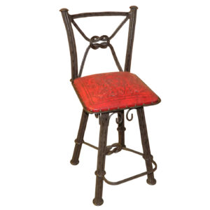 Western Iron Barstool, with Back, with Swivel, Colonial, Red