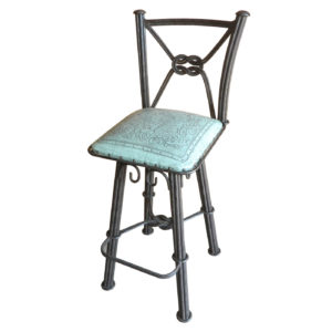Western Iron Barstool, with Back, with Swivel, Colonial, Turquoise