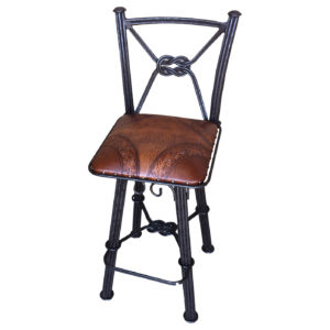 Western Iron Barstool, with Back, with Swivel, Colonial, Two Tones