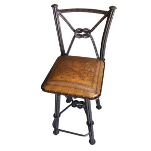 Western Iron Barstool, with Back, with Swivel, Deer, Rustic