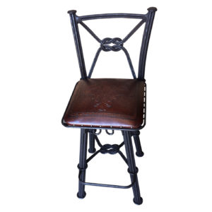 Western Iron Barstool, with Back, with Swivel, Fleur de Lys, Antique Brown
