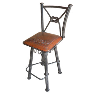 Western Iron Barstool, with Back, with Swivel, Flowers, Antique Brown