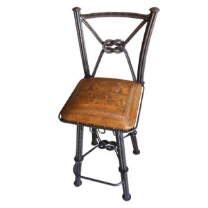 Western Iron Barstool, with Back, with Swivel, Moose, Rustic