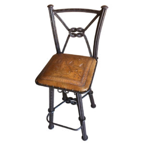 Western Iron Barstool, with Back, with Swivel, Wolf, Rustic