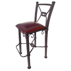 Western Iron Barstool, with back, Classic, Antique Brown