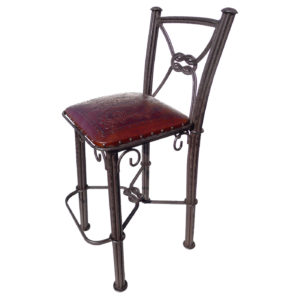 Western Iron Barstool, with back, Colonial, Antique Brown