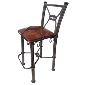 Western Iron Barstool, with back, Hair on Hide, Colonial, Antique Brown