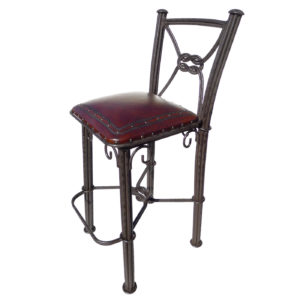 Western Iron Barstool, with back, Plain with Nailheads, Antique Brown
