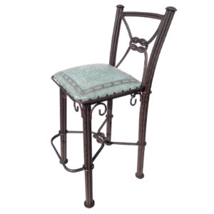 Western Iron Barstool, with back, Plain with Nailheads, Turquoise