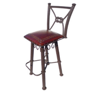 Western Iron Barstool, with back, with swivel, Classic, Antique Brown
