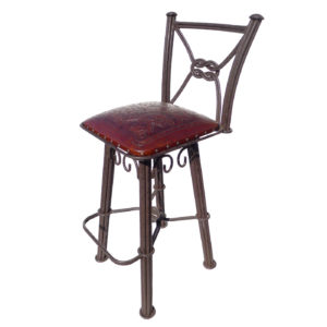 Western Iron Barstool, with back, with swivel, Colonial, Antique Brown