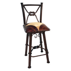 Western Iron Barstool, with back, with swivel, Colonial Corners, Hair on Hide, Antique Brown
