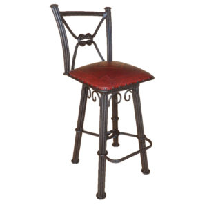 Western Iron Barstool, with back, with swivel, Diamond, Red
