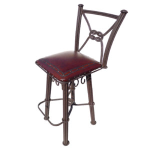 Western Iron Barstool, with back, with swivel, Plain with Nailheads, Antique Brown