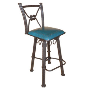 Western Iron Barstool, with back, with swivel, Plain with Nailheads, Teal
