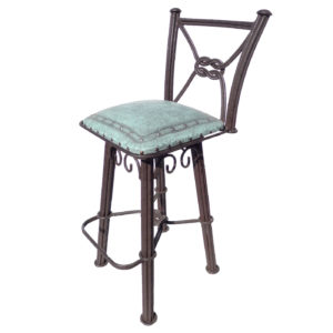 Western Iron Barstool, with back, with swivel, Plain with Nailheads, Turquoise