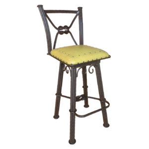 Western Iron Barstool, with back, with swivel, Plain with Nailheads, Yellow