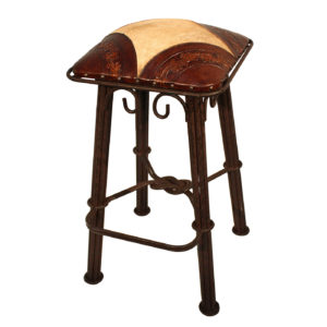 Western Iron Barstool, Colonial Corners, Hair on Hide, Antique Brown