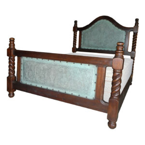 Solomon Bed, Colonial, Turquoise Leather, Antique Brown