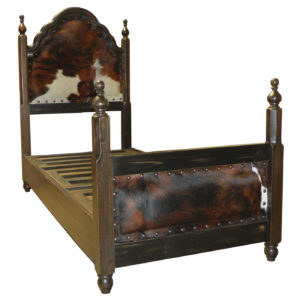Spanish Twin Bed, Hair on Hide, Black