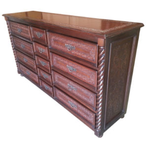 Jumbo Solomon Dresser, Colonial, Antique Brown