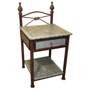 Iron Nightstand, Colonial, Turquoise