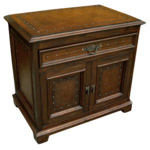 Jumbo Nightstand, Plain with Tacks, Antique Brown