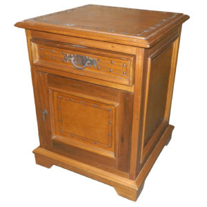 Large Nightstand, Plain with Tacks, Rustic