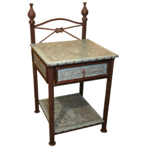 Western Iron Nightstand, Colonial, Turquoise